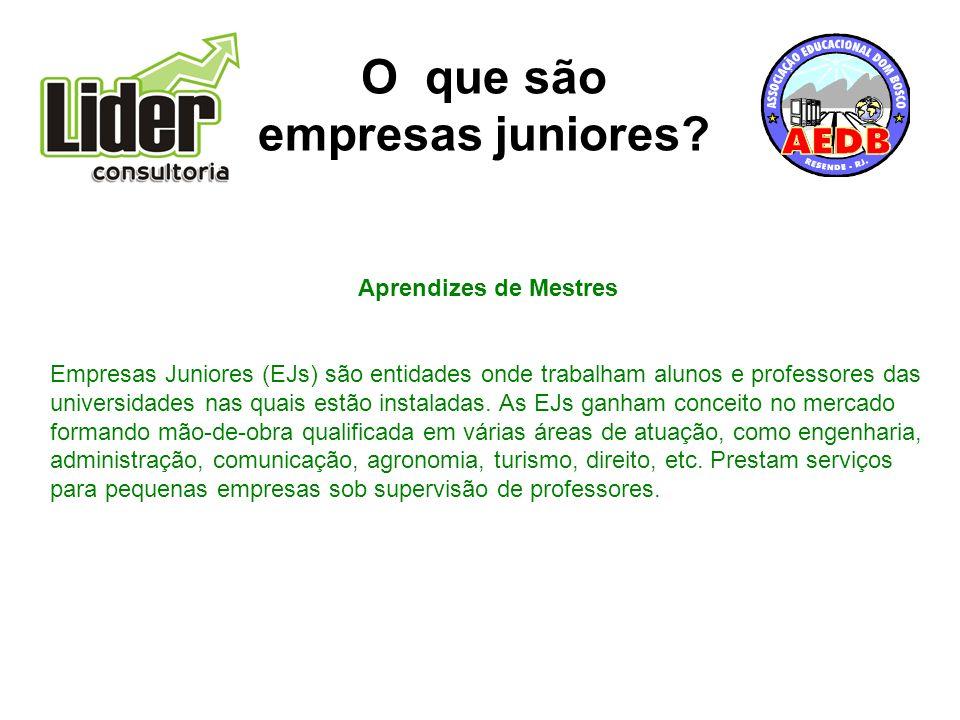 Aprendizes de Mestres Empresas Juniores (EJs) são entidades onde trabalham alunos e professores das universidades nas quais estão instaladas.