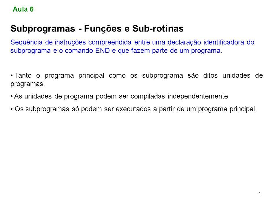 1 Subprogramas - Funções e Sub-rotinas Seqüência de instruções compreendida entre uma declaração identificadora do subprograma e o comando END e que f