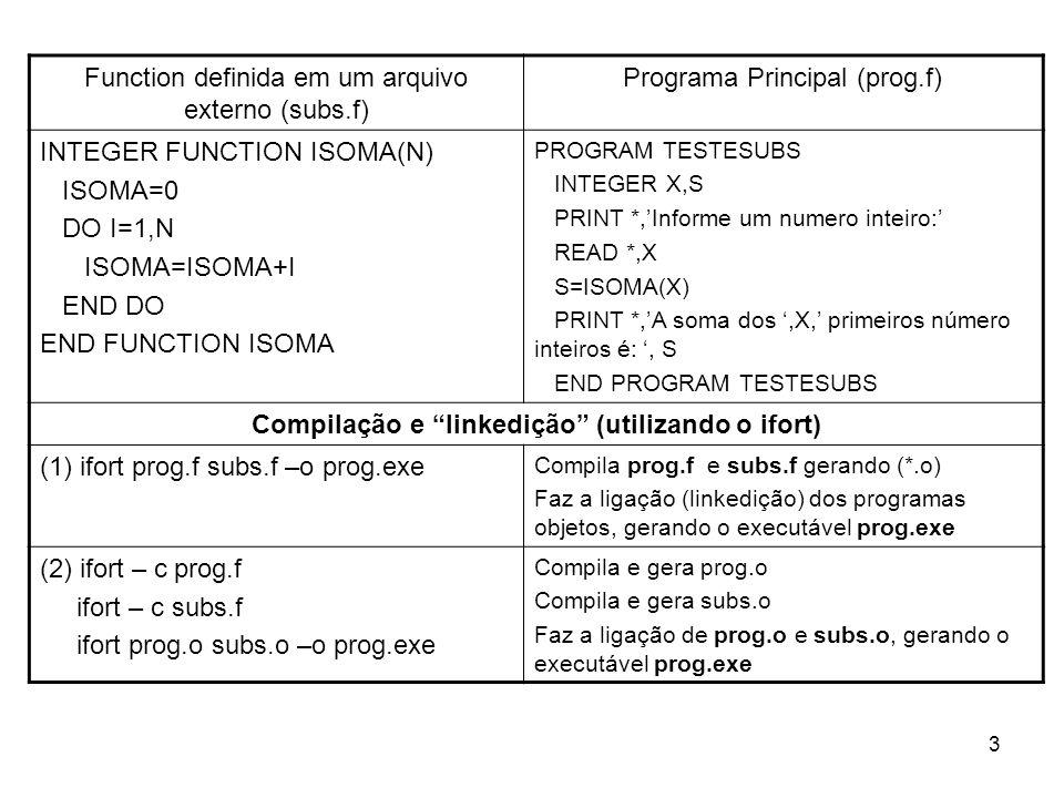 3 Function definida em um arquivo externo (subs.f) Programa Principal (prog.f) INTEGER FUNCTION ISOMA(N) ISOMA=0 DO I=1,N ISOMA=ISOMA+I END DO END FUN