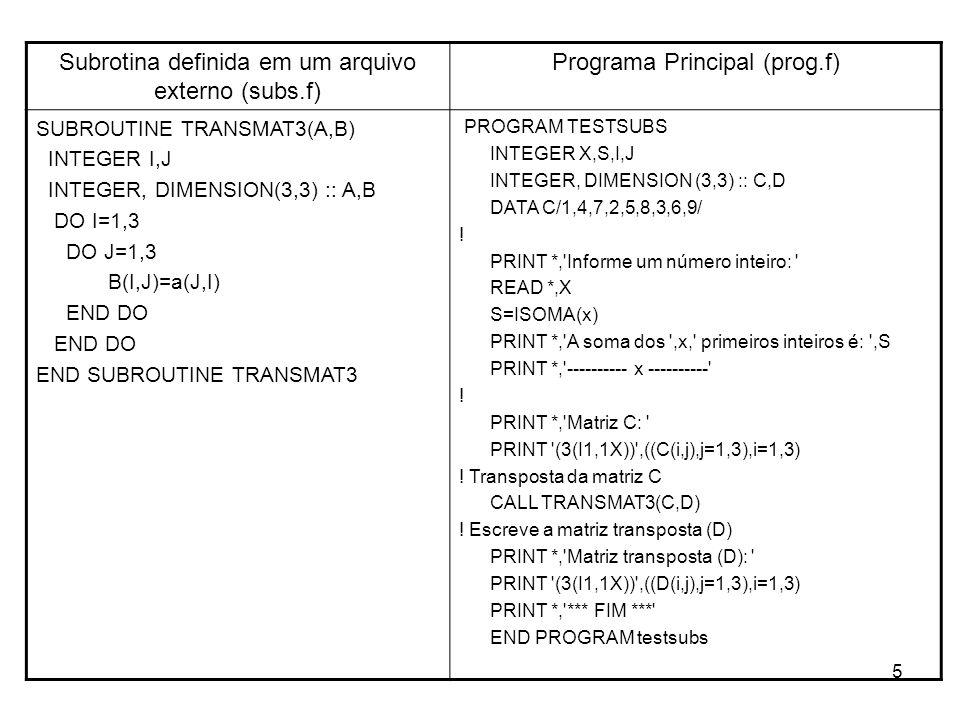 5 Subrotina definida em um arquivo externo (subs.f) Programa Principal (prog.f) SUBROUTINE TRANSMAT3(A,B) INTEGER I,J INTEGER, DIMENSION(3,3) :: A,B D