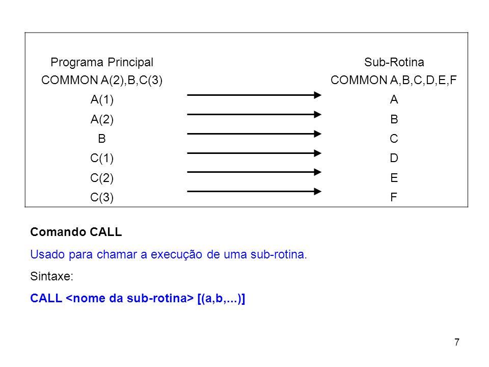 7 Programa Principal COMMON A(2),B,C(3) Sub-Rotina COMMON A,B,C,D,E,F A(1)A A(2)B BC C(1)D C(2)E C(3)F Comando CALL Usado para chamar a execução de um