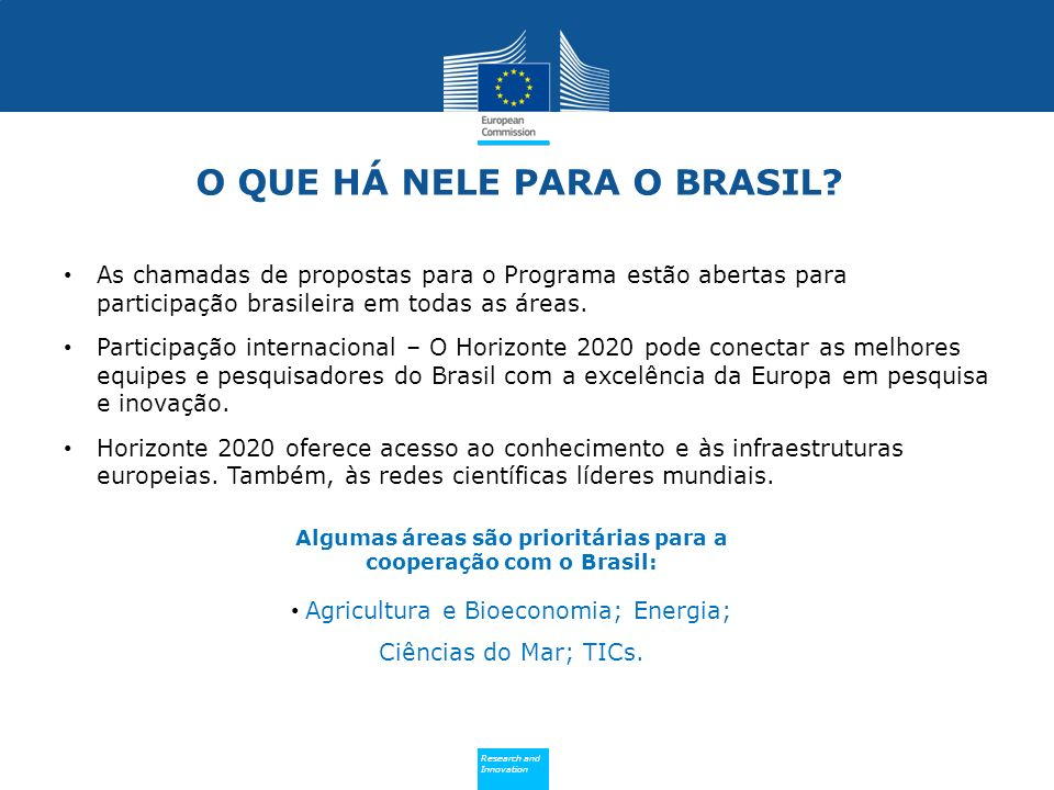 Policy Research and Innovation Research and Innovation O QUE HÁ NELE PARA O BRASIL.