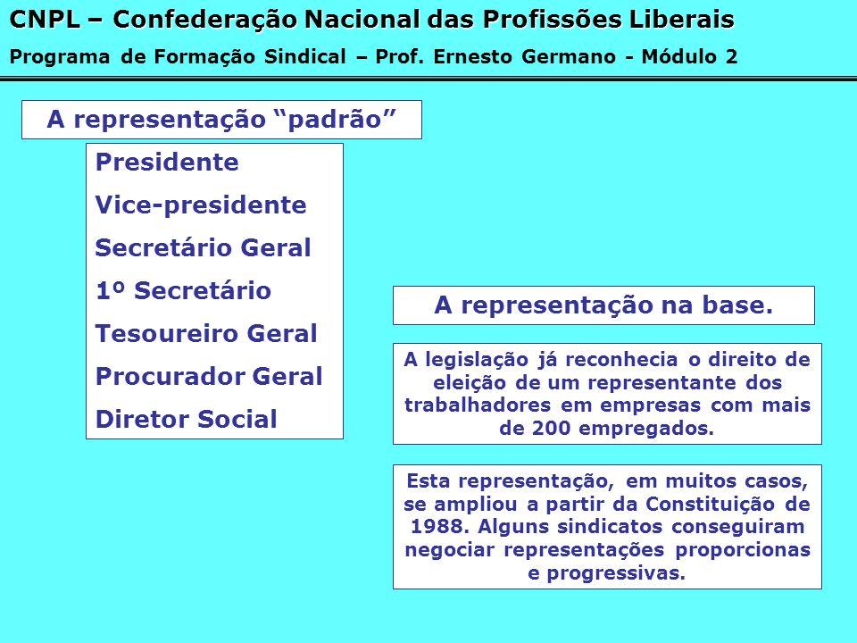 A representação padrão Presidente Vice-presidente Secretário Geral 1º Secretário Tesoureiro Geral Procurador Geral Diretor Social CNPL – Confederação