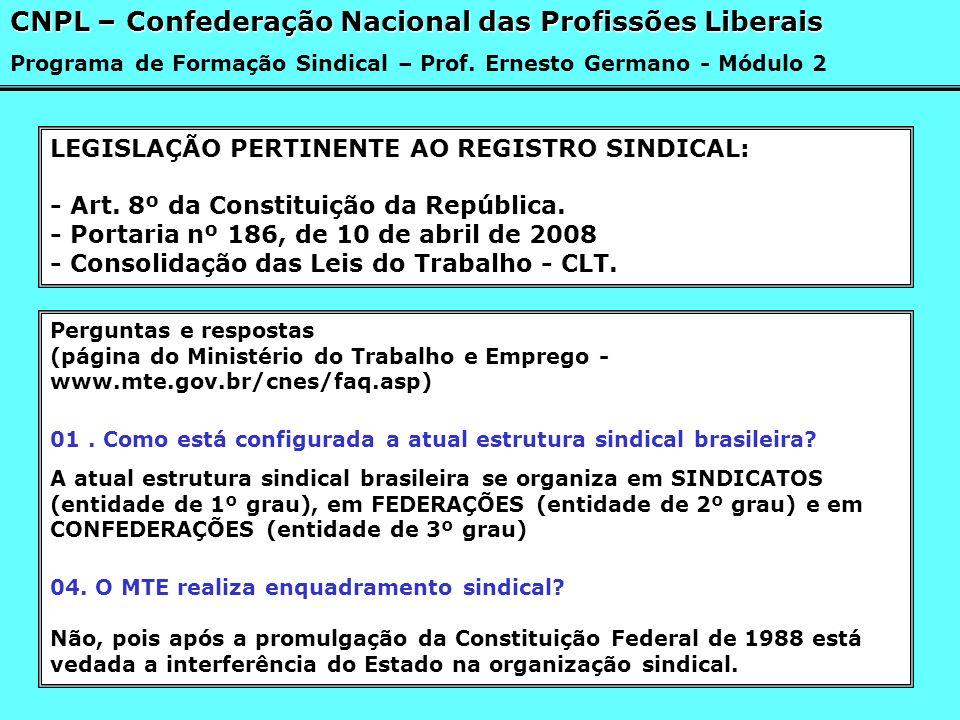 LEGISLAÇÃO PERTINENTE AO REGISTRO SINDICAL: - Art. 8º da Constituição da República. - Portaria nº 186, de 10 de abril de 2008 - Consolidação das Leis