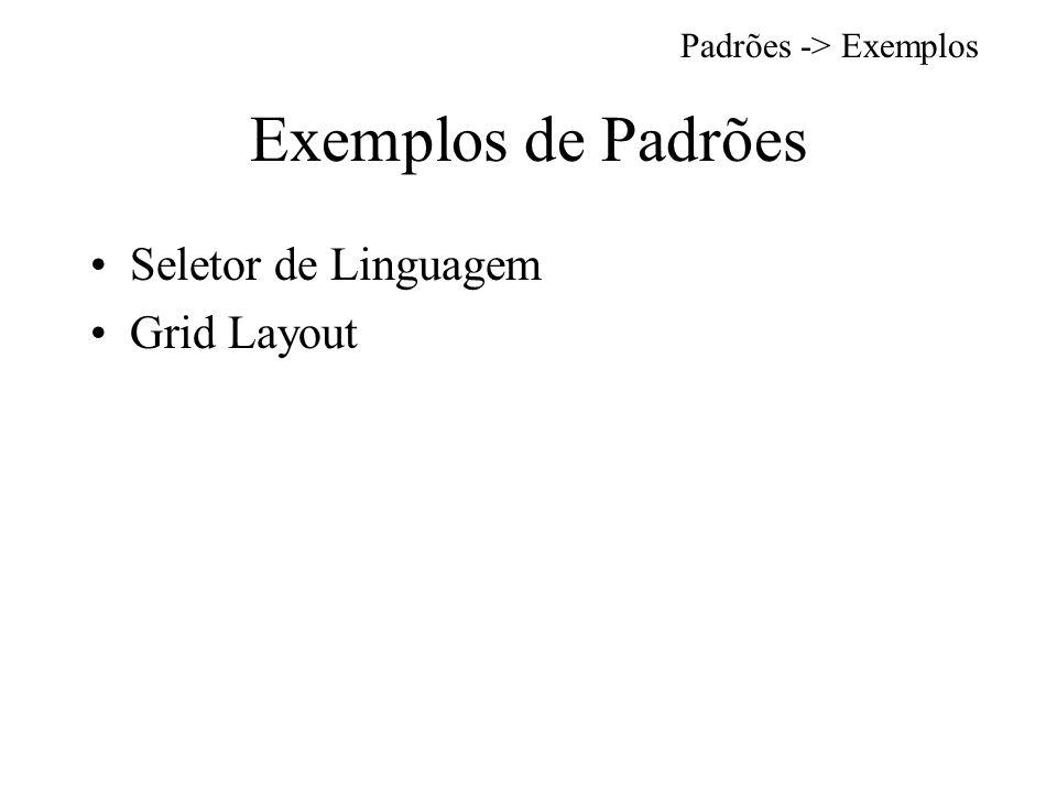 Exemplos de Padrões Seletor de Linguagem Grid Layout Padrões -> Exemplos