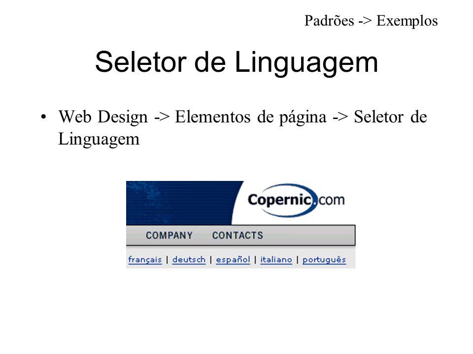 Seletor de Linguagem Web Design -> Elementos de página -> Seletor de Linguagem Padrões -> Exemplos
