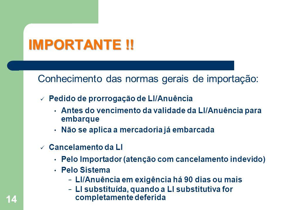IMPORTANTE !! Conhecimento das normas gerais de importação: Pedido de prorrogação de LI/Anuência Antes do vencimento da validade da LI/Anuência para e