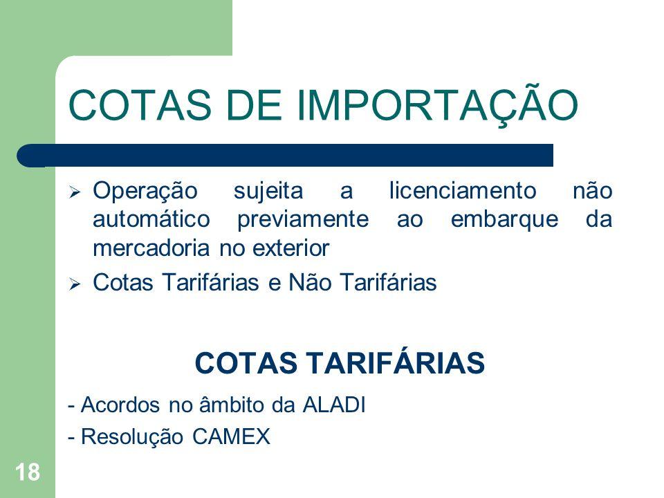 COTAS DE IMPORTAÇÃO Operação sujeita a licenciamento não automático previamente ao embarque da mercadoria no exterior Cotas Tarifárias e Não Tarifária