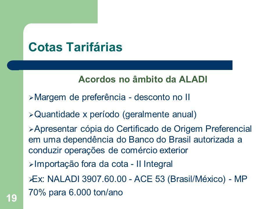 Cotas Tarifárias Acordos no âmbito da ALADI Margem de preferência - desconto no II Quantidade x período (geralmente anual) Apresentar cópia do Certifi