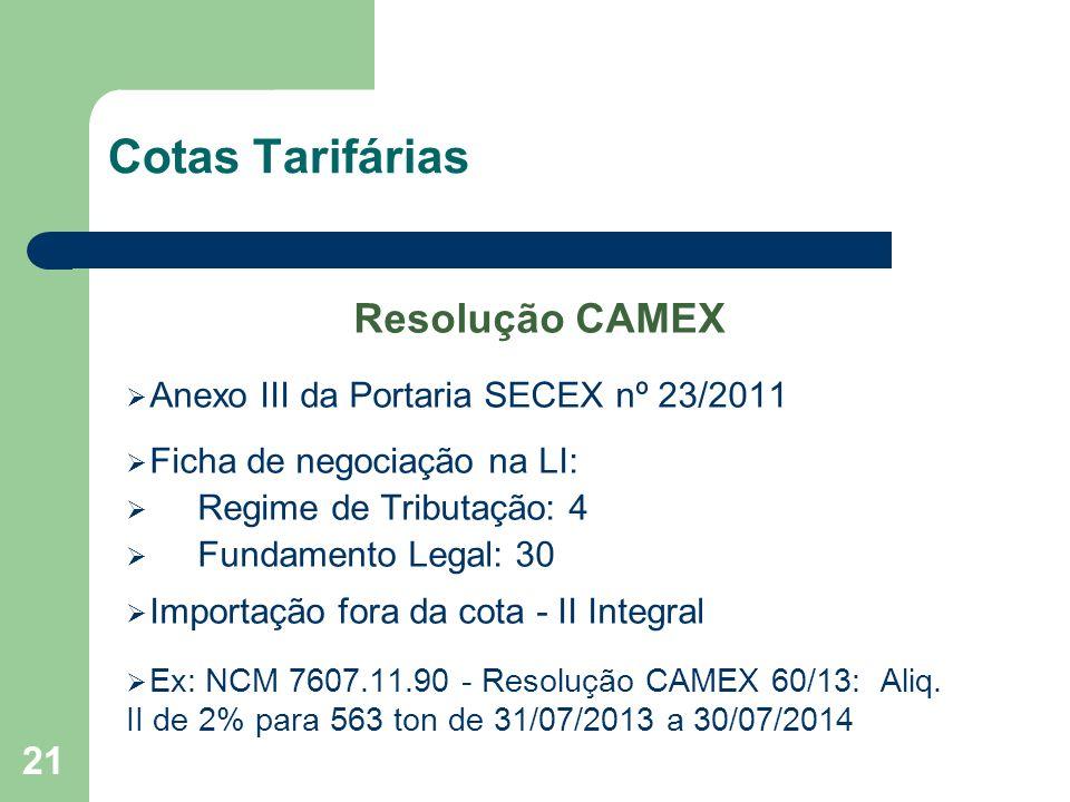 Cotas Tarifárias Resolução CAMEX Anexo III da Portaria SECEX nº 23/2011 Ficha de negociação na LI: Regime de Tributação: 4 Fundamento Legal: 30 Import