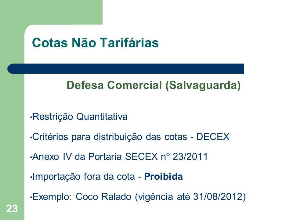 Cotas Não Tarifárias Defesa Comercial (Salvaguarda) Restrição Quantitativa Critérios para distribuição das cotas - DECEX Anexo IV da Portaria SECEX nº