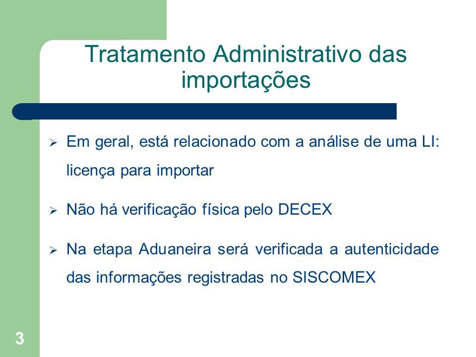 Tratamento Administrativo das importações Em geral, está relacionado com a análise de uma LI: licença para importar Não há verificação física pelo DEC