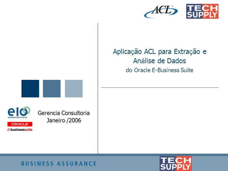 Aplica ç ão ACL para Extra ç ão e An á lise de Dados do Oracle E-Business Suite Gerencia Consultoria Janeiro /2006
