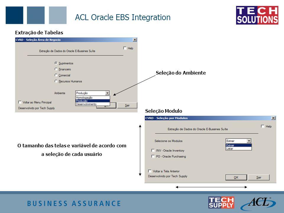 Extração de Tabelas ACL Oracle EBS Integration Seleção do Ambiente Seleção Modulo O tamanho das telas e variável de acordo com a seleção de cada usuár