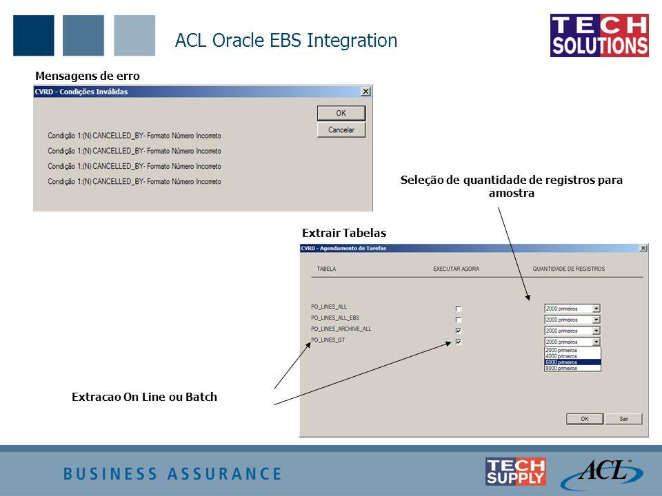Mensagens de erro Extrair Tabelas Extracao On Line ou Batch Seleção de quantidade de registros para amostra ACL Oracle EBS Integration