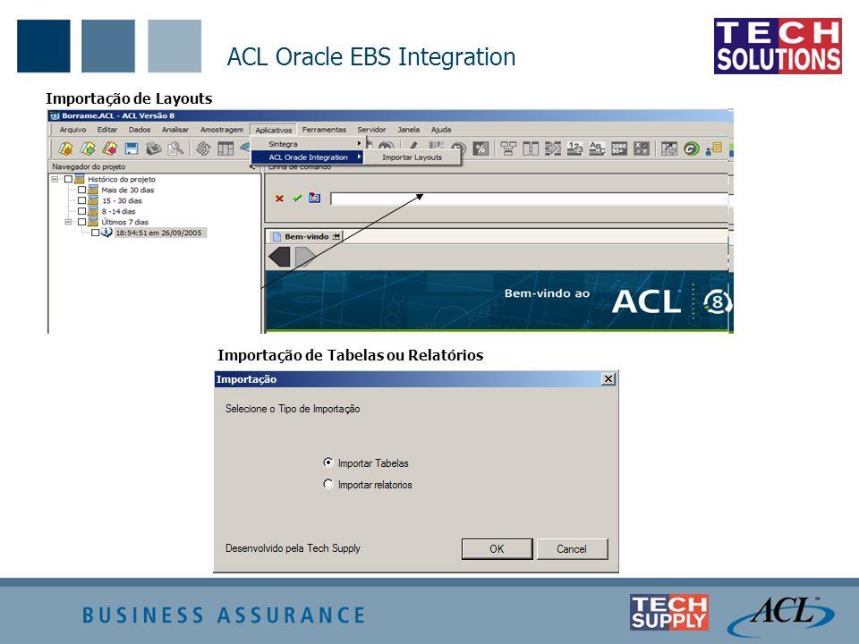 ACL Oracle EBS Integration Importação de Layouts Importação de Tabelas ou Relatórios