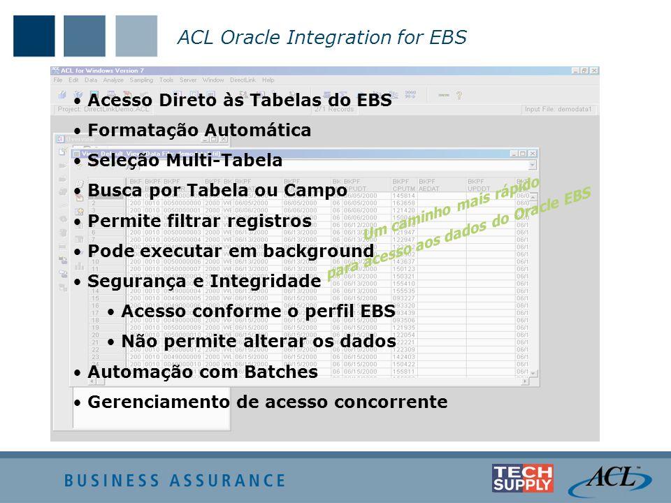 Acesso Direto às Tabelas do EBS Formatação Automática Seleção Multi-Tabela Busca por Tabela ou Campo Permite filtrar registros Pode executar em backgr