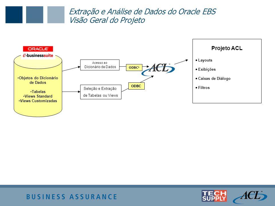 Extra ç ão e An á lise de Dados do Oracle EBS Visão Geral do Projeto Objetos do Dicionário de Dados Tabelas Views Standard Views Customizadas Projeto