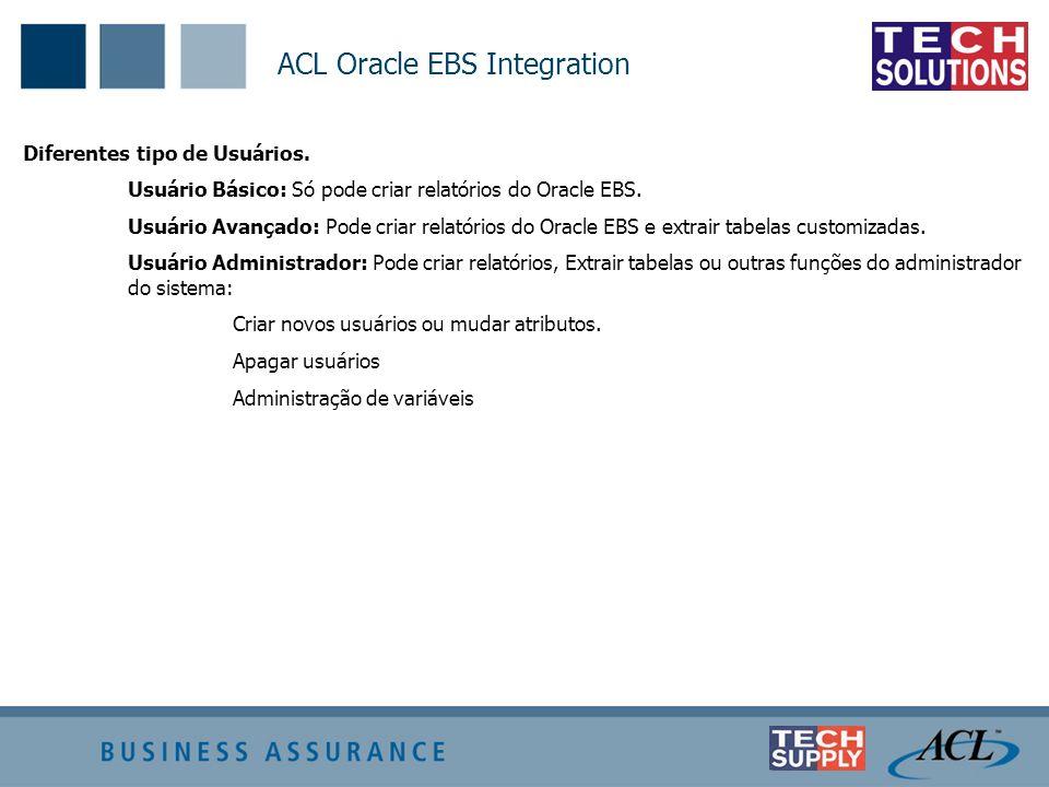ACL Oracle EBS Integration Diferentes tipo de Usuários. Usuário Básico: Só pode criar relatórios do Oracle EBS. Usuário Avançado: Pode criar relatório
