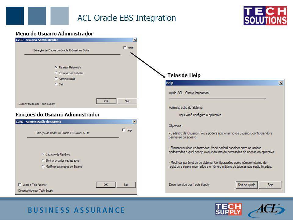ACL Oracle EBS Integration Menu do Usuário Administrador Funções do Usuário Administrador Telas de Help