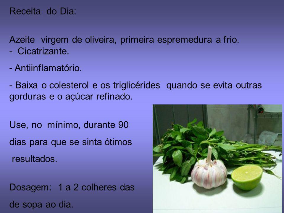 Receita do Dia: Azeite virgem de oliveira, primeira espremedura a frio.
