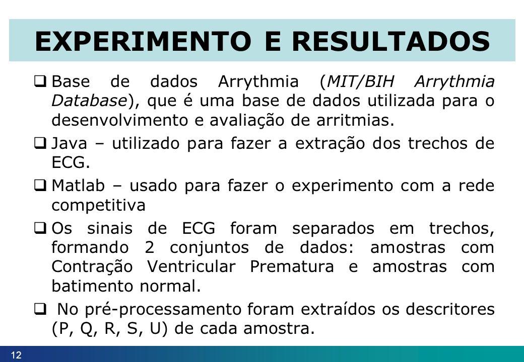 Base de dados Arrythmia (MIT/BIH Arrythmia Database), que é uma base de dados utilizada para o desenvolvimento e avaliação de arritmias. Java – utiliz