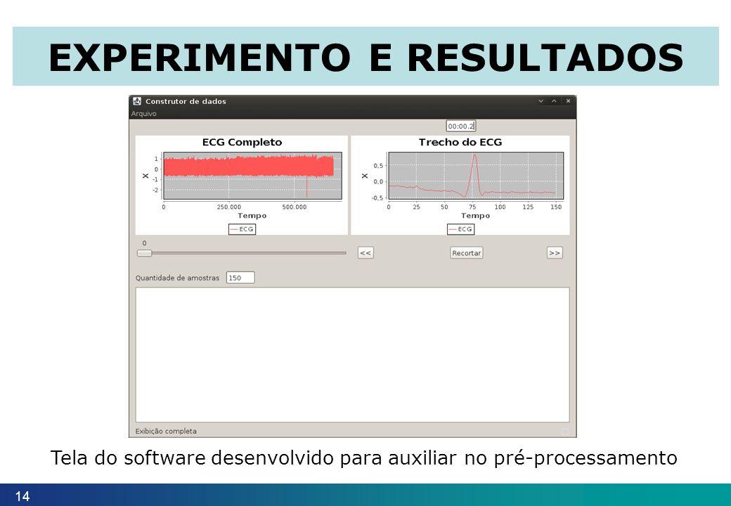 14 EXPERIMENTO E RESULTADOS Tela do software desenvolvido para auxiliar no pré-processamento