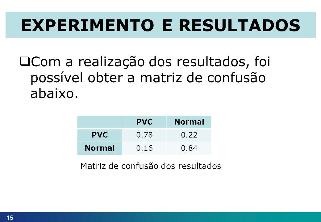 15 EXPERIMENTO E RESULTADOS Com a realização dos resultados, foi possível obter a matriz de confusão abaixo. PVCNormal PVC0.780.22 Normal0.160.84 Matr