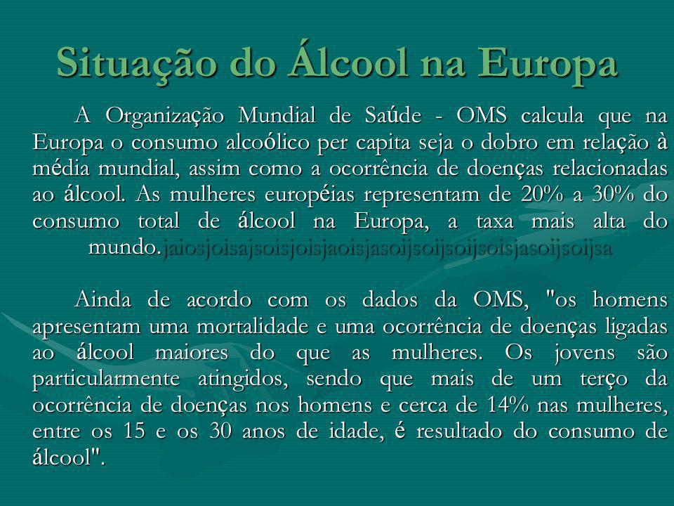 Situação do Álcool na Europa A Organiza ç ão Mundial de Sa ú de - OMS calcula que na Europa o consumo alco ó lico per capita seja o dobro em rela ç ão