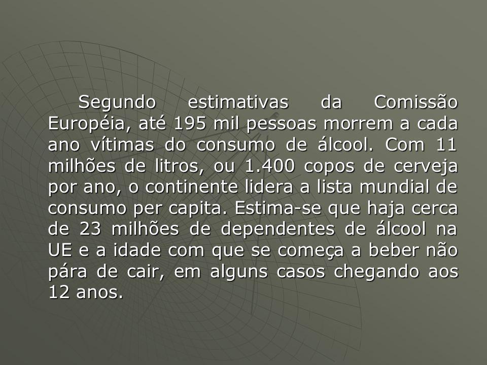 Segundo estimativas da Comissão Européia, até 195 mil pessoas morrem a cada ano vítimas do consumo de álcool. Com 11 milhões de litros, ou 1.400 copos