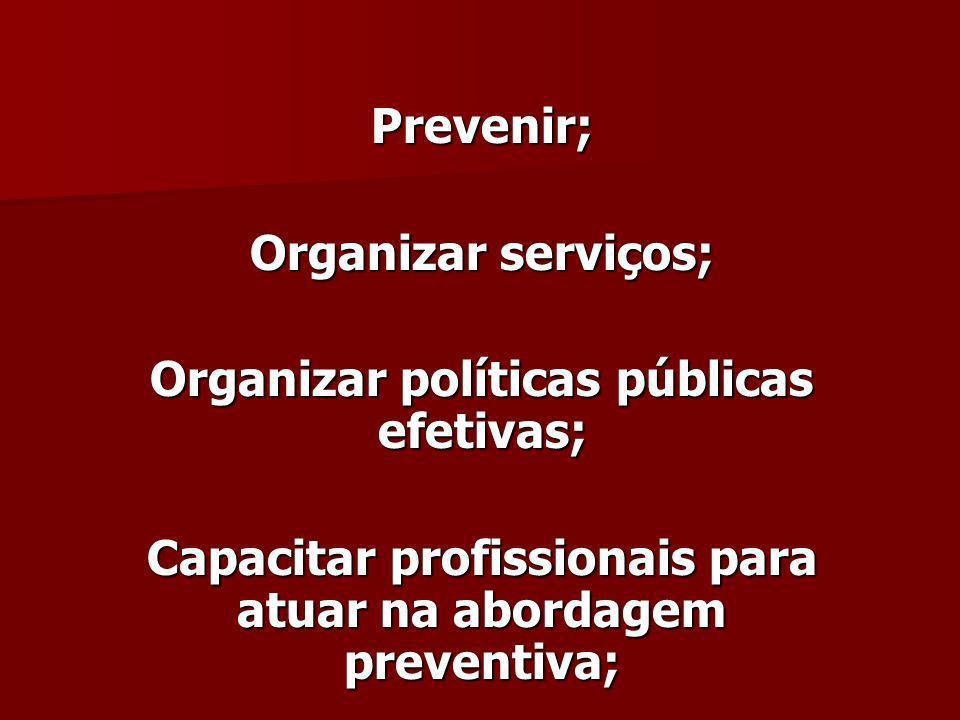 Prevenir; Organizar serviços; Organizar políticas públicas efetivas; Capacitar profissionais para atuar na abordagem preventiva;