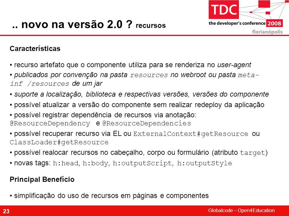 Globalcode – Open4Education 23 Características recurso artefato que o componente utiliza para se renderiza no user-agent publicados por convenção na p