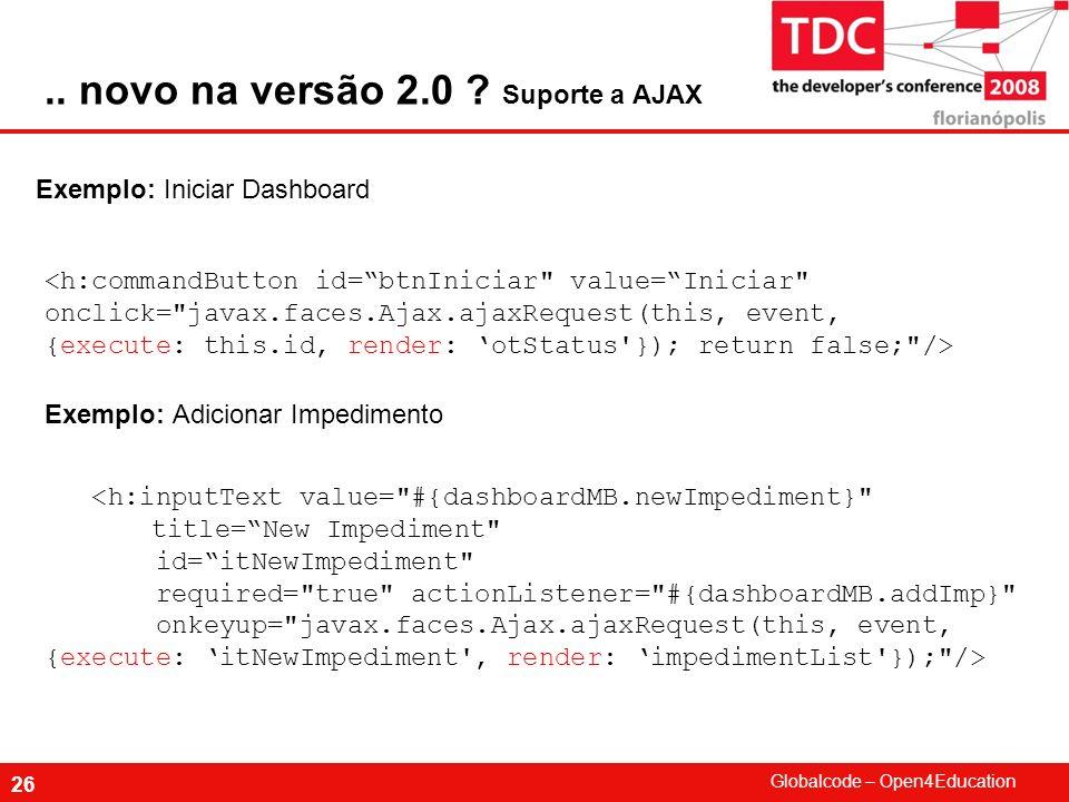 Globalcode – Open4Education 26 Exemplo: Iniciar Dashboard.. novo na versão 2.0 ? Suporte a AJAX Exemplo: Adicionar Impedimento