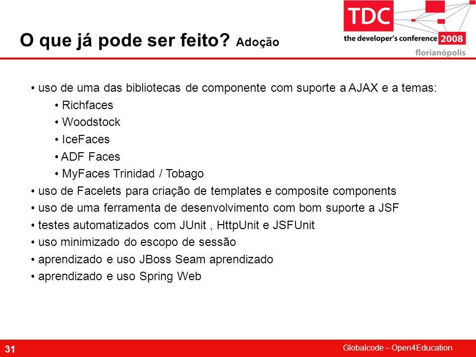 Globalcode – Open4Education 31 uso de uma das bibliotecas de componente com suporte a AJAX e a temas: Richfaces Woodstock IceFaces ADF Faces MyFaces T
