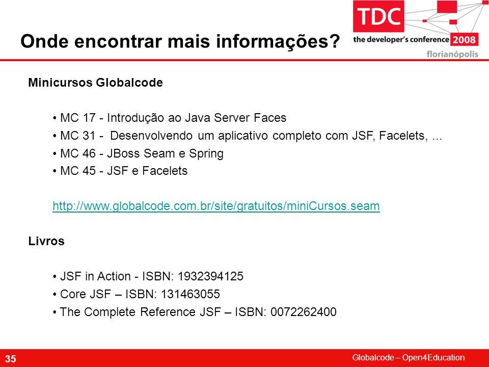 Globalcode – Open4Education 35 Minicursos Globalcode MC 17 - Introdução ao Java Server Faces MC 31 - Desenvolvendo um aplicativo completo com JSF, Fac