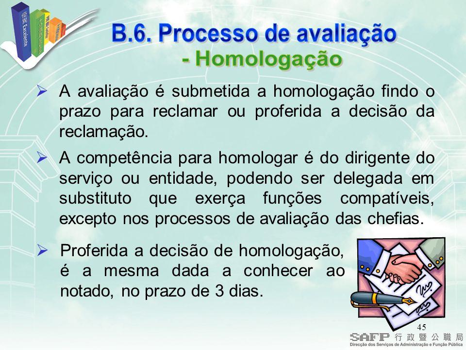 45 A avaliação é submetida a homologação findo o prazo para reclamar ou proferida a decisão da reclamação.