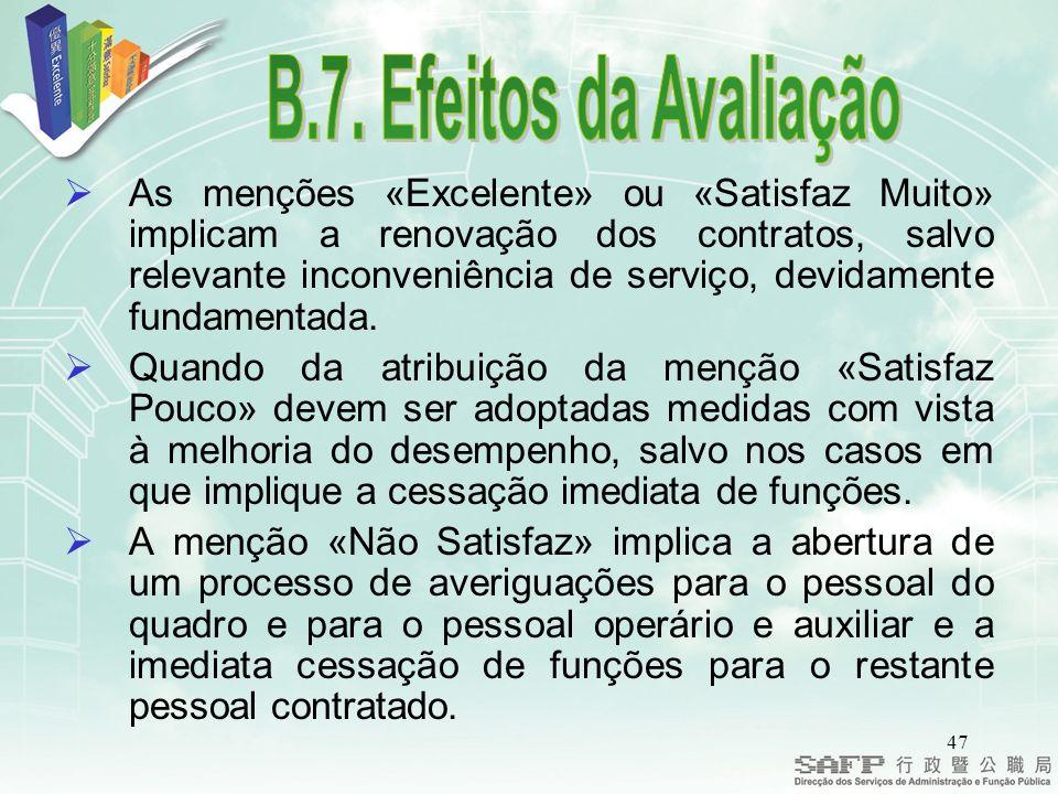 47 As menções «Excelente» ou «Satisfaz Muito» implicam a renovação dos contratos, salvo relevante inconveniência de serviço, devidamente fundamentada.