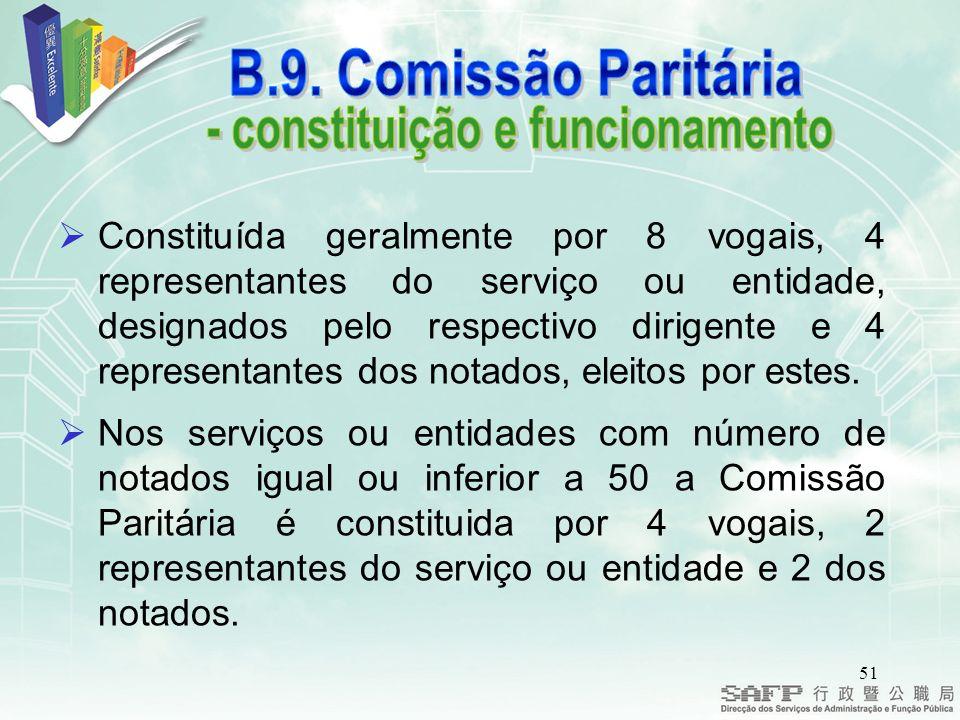 51 Constituída geralmente por 8 vogais, 4 representantes do serviço ou entidade, designados pelo respectivo dirigente e 4 representantes dos notados, eleitos por estes.