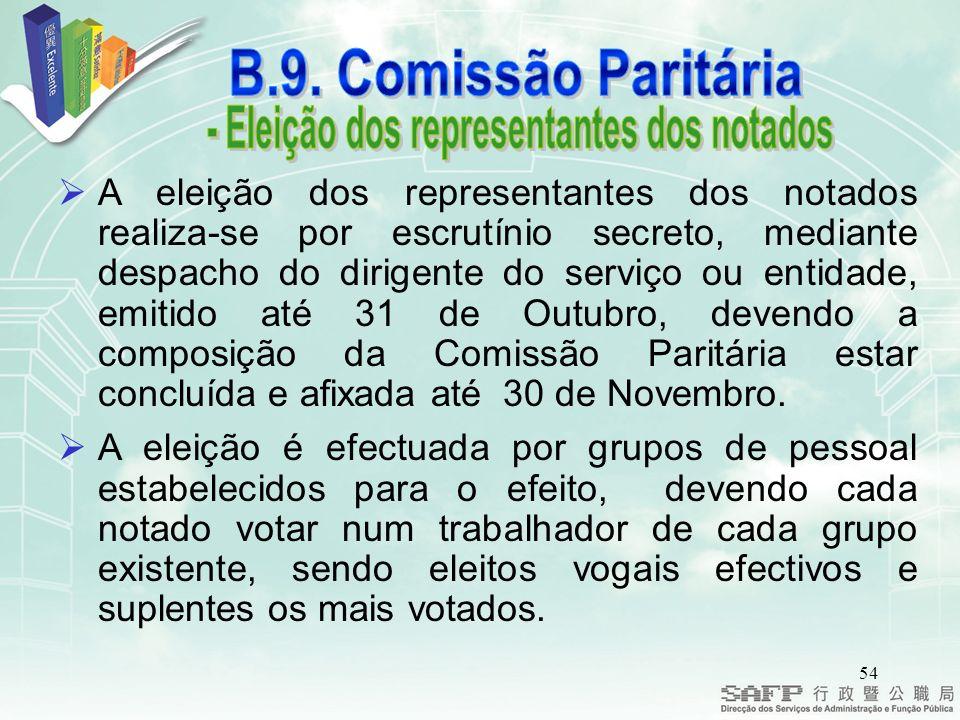 54 A eleição dos representantes dos notados realiza-se por escrutínio secreto, mediante despacho do dirigente do serviço ou entidade, emitido até 31 de Outubro, devendo a composição da Comissão Paritária estar concluída e afixada até 30 de Novembro.