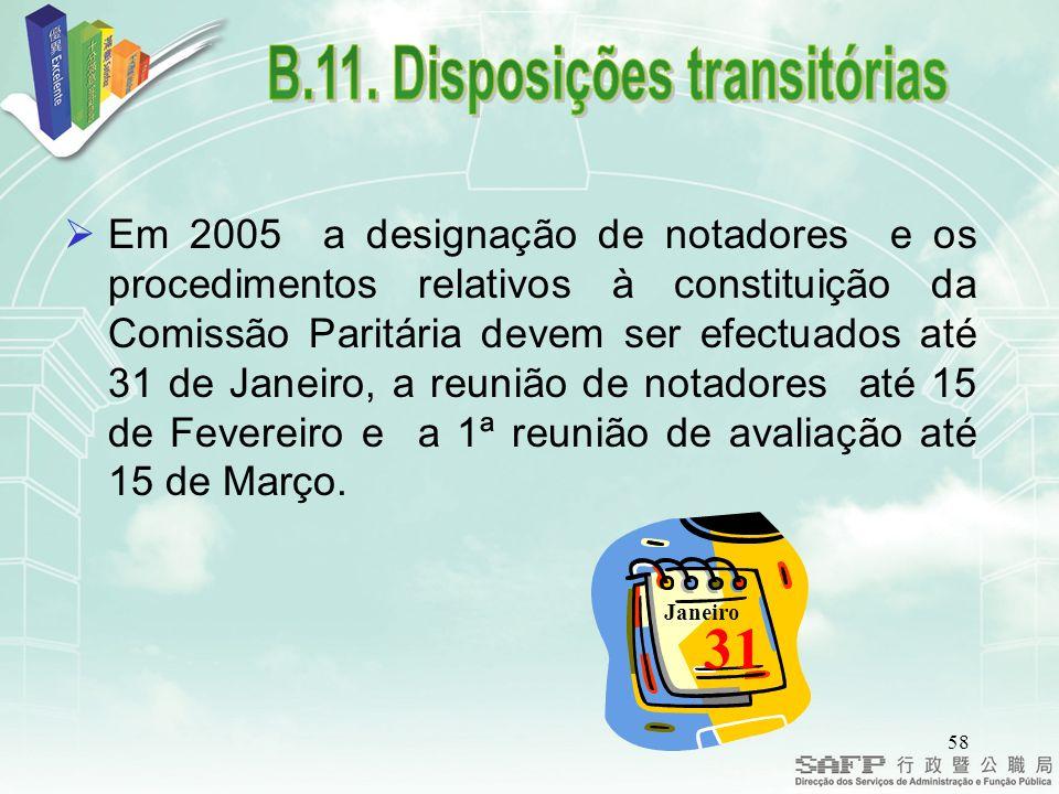 58 Em 2005 a designação de notadores e os procedimentos relativos à constituição da Comissão Paritária devem ser efectuados até 31 de Janeiro, a reunião de notadores até 15 de Fevereiro e a 1ª reunião de avaliação até 15 de Março.