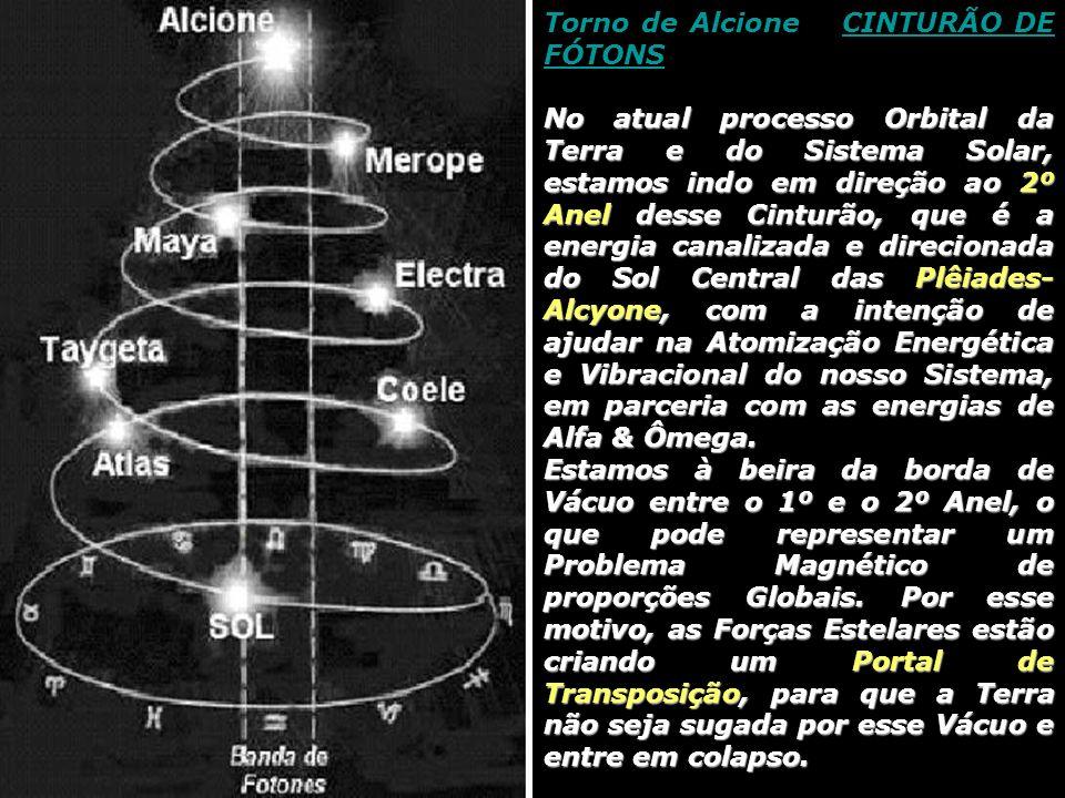 Torno de Alcione e CINTURÃO DE FÓTONSCINTURÃO DE FÓTONS No atual processo Orbital da Terra e do Sistema Solar, estamos indo em direção ao 2º Anel desse Cinturão, que é a energia canalizada e direcionada do Sol Central das Plêiades- Alcyone, com a intenção de ajudar na Atomização Energética e Vibracional do nosso Sistema, em parceria com as energias de Alfa & Ômega.