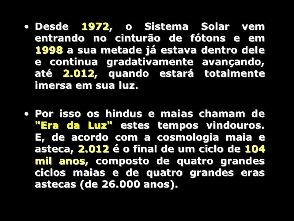 Desde 1972, o Sistema Solar vem entrando no cinturão de fótons e em 1998 a sua metade já estava dentro dele e continua gradativamente avançando, até 2.012, quando estará totalmente imersa em sua luz.Desde 1972, o Sistema Solar vem entrando no cinturão de fótons e em 1998 a sua metade já estava dentro dele e continua gradativamente avançando, até 2.012, quando estará totalmente imersa em sua luz.