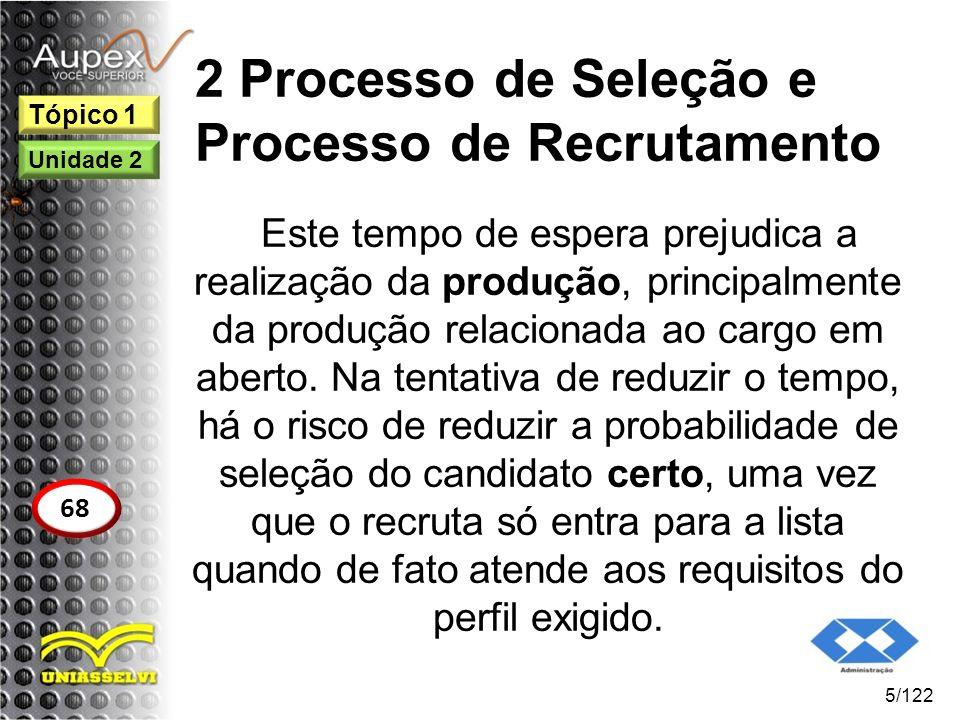 2 Processo de Seleção e Processo de Recrutamento Este tempo de espera prejudica a realização da produção, principalmente da produção relacionada ao ca