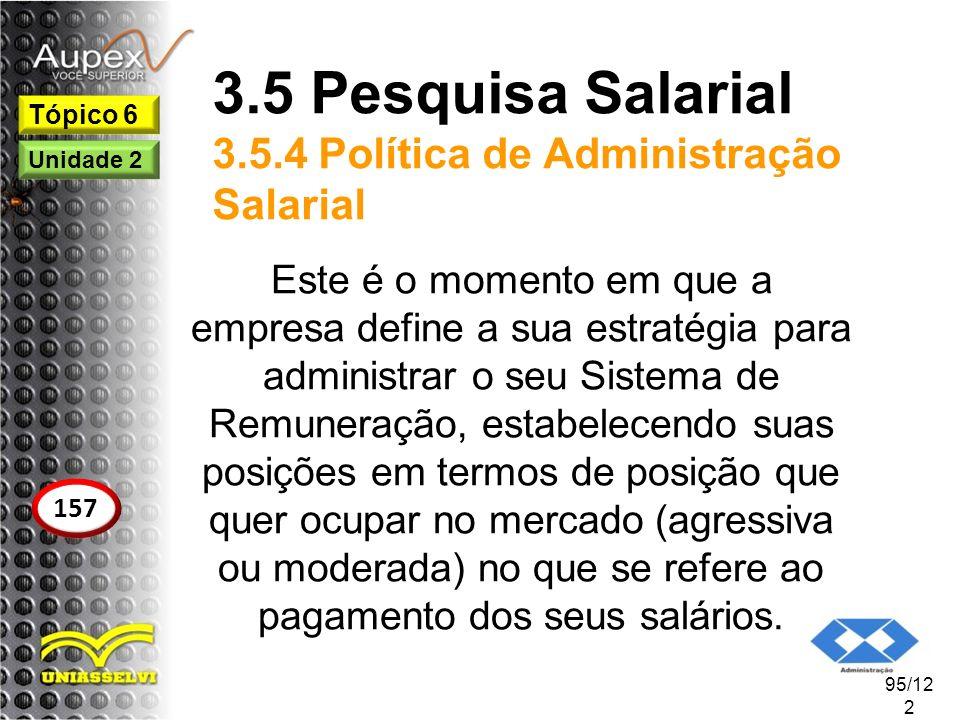 3.5 Pesquisa Salarial 3.5.4 Política de Administração Salarial Este é o momento em que a empresa define a sua estratégia para administrar o seu Sistem
