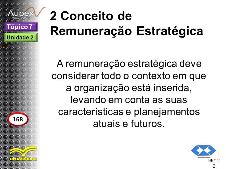 2 Conceito de Remuneração Estratégica A remuneração estratégica deve considerar todo o contexto em que a organização está inserida, levando em conta a