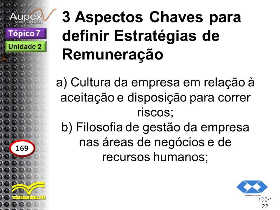 3 Aspectos Chaves para definir Estratégias de Remuneração a) Cultura da empresa em relação à aceitação e disposição para correr riscos; b) Filosofia d