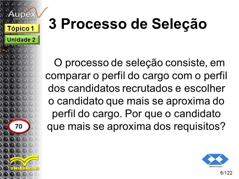 3 Processo de Seleção O processo de seleção consiste, em comparar o perfil do cargo com o perfil dos candidatos recrutados e escolher o candidato que