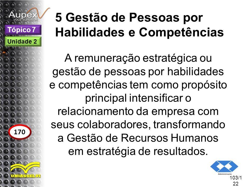 5 Gestão de Pessoas por Habilidades e Competências A remuneração estratégica ou gestão de pessoas por habilidades e competências tem como propósito pr