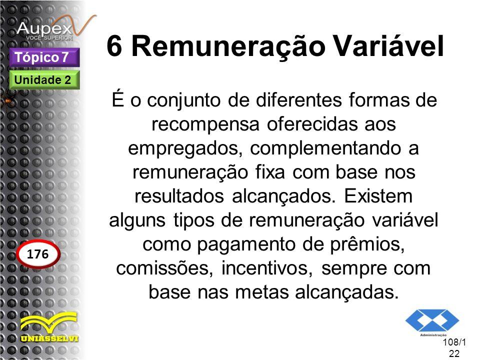 6 Remuneração Variável É o conjunto de diferentes formas de recompensa oferecidas aos empregados, complementando a remuneração fixa com base nos resul