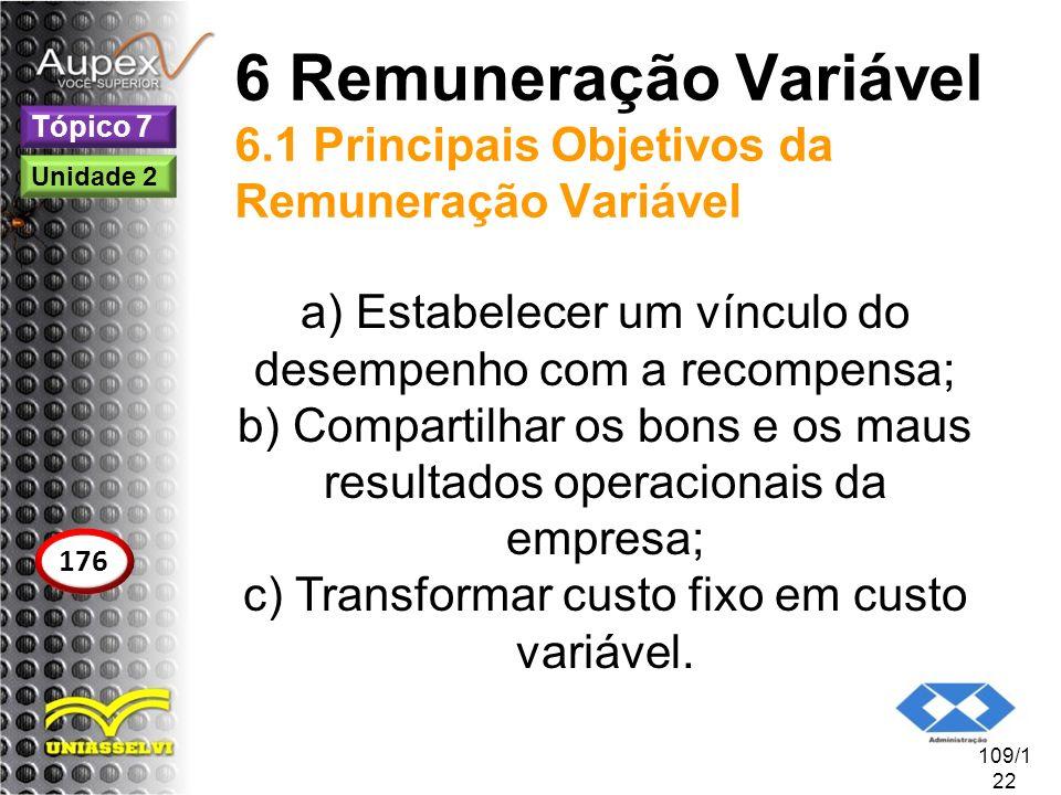 6 Remuneração Variável 6.1 Principais Objetivos da Remuneração Variável a) Estabelecer um vínculo do desempenho com a recompensa; b) Compartilhar os b